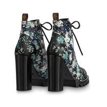 Louis Vuitton 2019-20AW FLOWER PRINTED LACE UP BOOTS black 35-39 boots