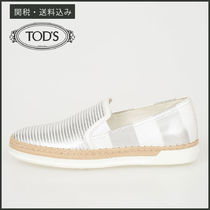 TOD'S Stripes Round Toe Rubber Sole Casual Style Unisex Leather