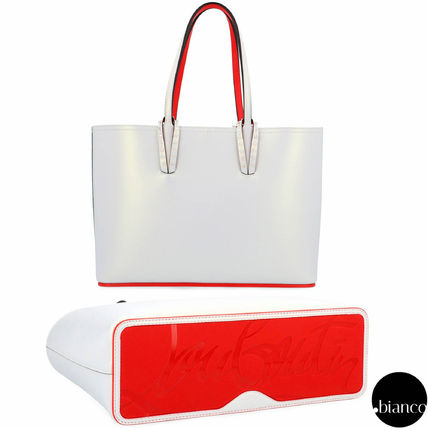 fe024935be8 Christian Louboutin 2019 SS Unisex Calfskin Studded A4 Bi-color Elegant  Style Totes (1195303 W156)