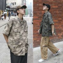 Camouflage Street Style Cotton Short Sleeves Oversized
