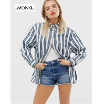 MONKI Stripes Casual Style Long Sleeves Cotton Long Oversized