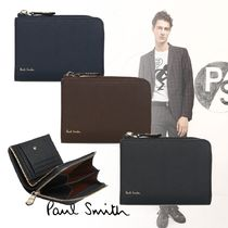 Paul Smith Stripes Plain Leather Folding Wallet Folding Wallets
