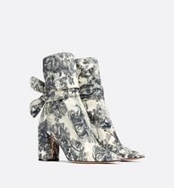Christian Dior Flower Patterns Leather Block Heels Ankle & Booties Boots