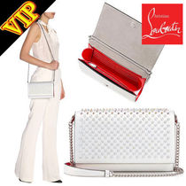 Christian Louboutin Paloma Calfskin Studded 2WAY Chain Plain Elegant Style Clutches