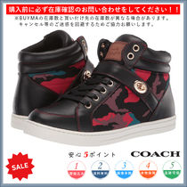 Coach Camouflage Round Toe Lace-up Casual Style Low-Top Sneakers
