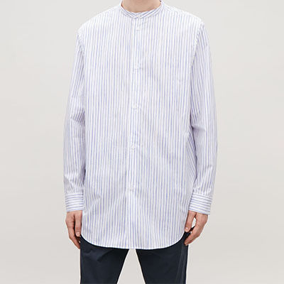 Stripes Long Sleeves Cotton Band-collar Shirts Shirts