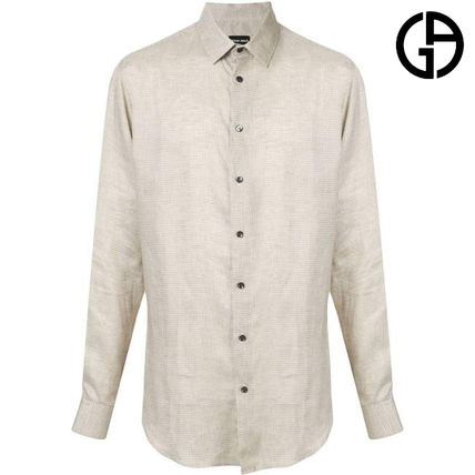 Other Check Patterns Linen Long Sleeves Shirts