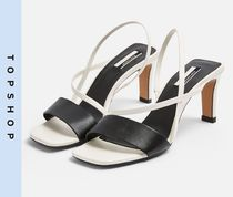 TOPSHOP Casual Style Leather Pin Heels Stiletto Pumps & Mules