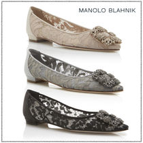 Manolo Blahnik Hangisi Flower Patterns With Jewels Elegant Style Pumps & Mules