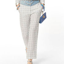 CHANEL Tweed Blended Fabrics Long Pants