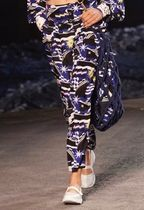 CHANEL ICON Printed Pants Other Check Patterns Blended Fabrics Long
