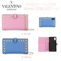 VALENTINO Blended Fabrics Studded Leather Smart Phone Cases