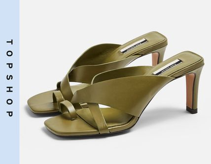 Casual Style Leather High Heel Pumps & Mules
