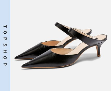 Casual Style Leather Kitten Heel Pumps & Mules