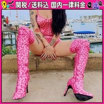 DOLLS KILL Leopard Patterns Casual Style Pin Heels Over-the-Knee Boots