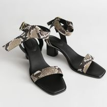 & Other Stories Plain Leather Chunky Heels Sandals