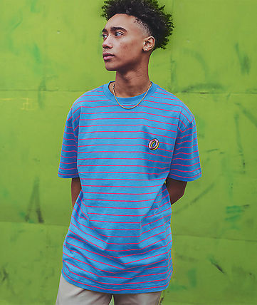 Crew Neck Stripes Street Style Cotton Short Sleeves