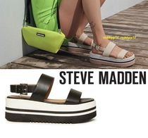 Steve Madden Open Toe Platform Casual Style Street Style Plain Leather