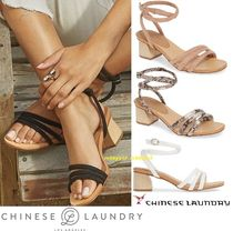 CHINESE LAUNDRY Open Toe Casual Style Street Style Plain Leather
