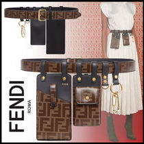 FENDI Monogram Leather Elegant Style Belts