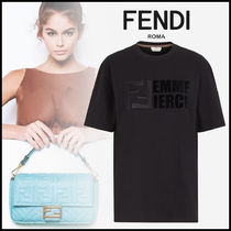 FENDI Crew Neck Street Style Plain Cotton Medium Short Sleeves