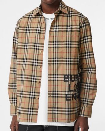 Burberry Shirts Other Check Patterns Long Sleeves Cotton Shirts