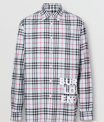 Burberry Shirts Other Check Patterns Long Sleeves Cotton Shirts 4