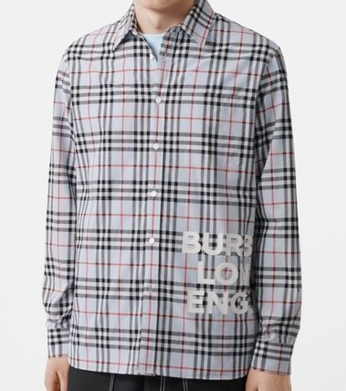 Burberry Shirts Other Check Patterns Long Sleeves Cotton Shirts 5