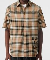 Burberry Other Check Patterns Cotton Short Sleeves Shirts