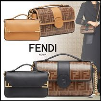 FENDI Monogram Calfskin 2WAY Chain Elegant Style Shoulder Bags