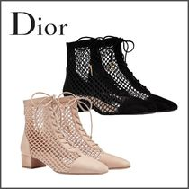 Christian Dior Star Blended Fabrics Plain Leather Ankle & Booties Boots
