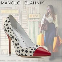 Manolo Blahnik Dots Leather High Heel Pumps & Mules