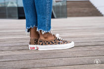VANS AUTHENTIC Leopard Patterns Platform Round Toe Lace-up Casual Style