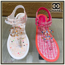 CHANEL Open Toe Tweed With Jewels Elegant Style Sandals