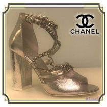 CHANEL Open Toe Chain Plain Leather Block Heels Elegant Style