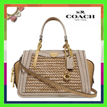 Coach DREAMER Blended Fabrics 2WAY Plain Leather Straw Bags