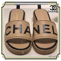 CHANEL Open Toe Leather Elegant Style Sandals