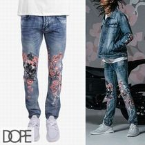 DOPE couture Tapered Pants Skull Flower Patterns Street Style Cotton
