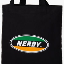 NERDY Casual Style Unisex Street Style A4 Plain Logo Totes
