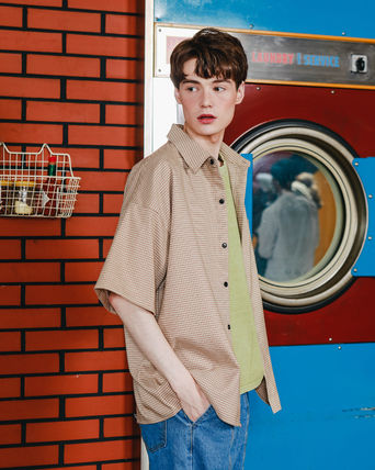 WV PROJECT Shirts Other Check Patterns Unisex Street Style Short Sleeves 2