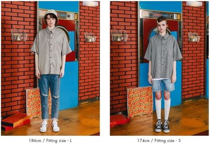 WV PROJECT Shirts Other Check Patterns Unisex Street Style Short Sleeves 16