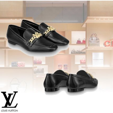Louis Vuitton Loafer Plain Leather Elegant Style Loafer Pumps & Mules