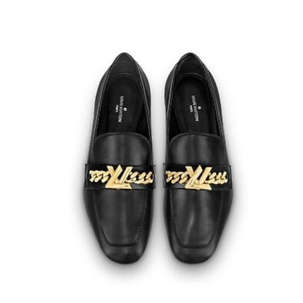 Louis Vuitton Loafer Plain Leather Elegant Style Loafer Pumps & Mules 4