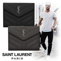 Saint Laurent Monogram Unisex Street Style Leather Folding Wallets