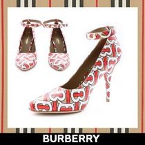 Burberry Monogram Leather Pin Heels Pointed Toe Pumps & Mules