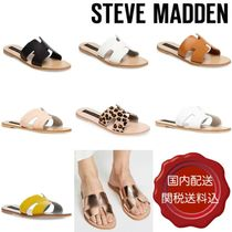 Steve Madden Leopard Patterns Open Toe Casual Style Blended Fabrics Plain