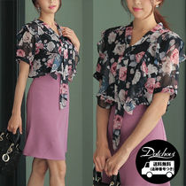 Flower Patterns Casual Style Chiffon Medium Short Sleeves