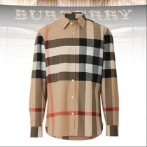 Burberry Other Check Patterns Unisex Long Sleeves Shirts & Blouses