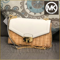 Michael Kors Blended Fabrics Leather Straw Bags
