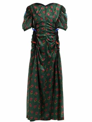 Flower Patterns Casual Style Maxi U-Neck Long Short Sleeves
